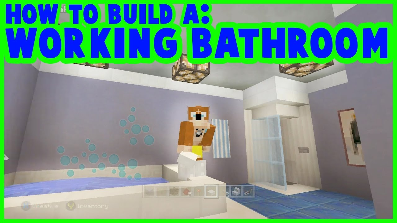 Minecraft : How to Make a Working Bathroom - YouTube