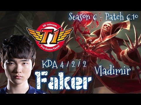 SKT T1 Faker VLADIMIR Mid vs Jhin - Patch 6.10 KR | League of Legends