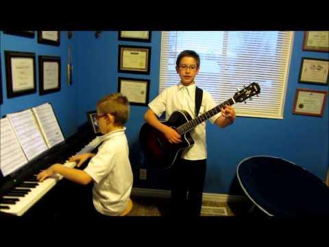 Caleb and Micah Play O Holy Night Piano/Guitar