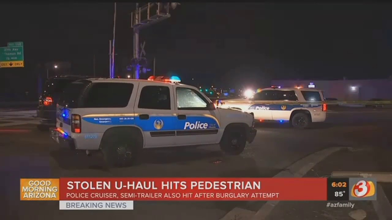 VIDEO: Driver in stolen U-Haul hits pedestrian after burglary attempt