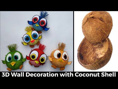 Coconut Shell craft ideas/How to make Bird with Coconut shell/Coconut shell Wall hanging making