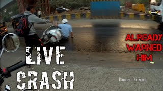2 Scooty Crashes Due To Oil Spill   Thunder On Road