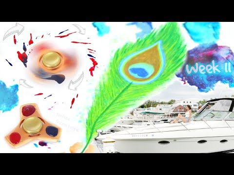 FIDGET SPINNER PAINTING : WRECK THIS JOURNAL 11 - Peacock Feather & Boat - SoCraftastic