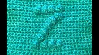 How to crochet a square with bobble stitch chart letter Z