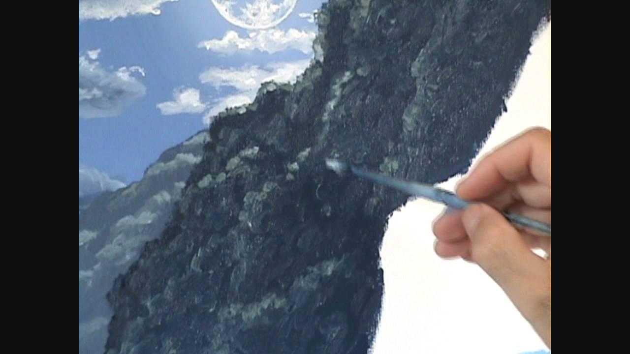 8 Come dipingere una spiaggia e le montagne e la luce della luna  YouTube