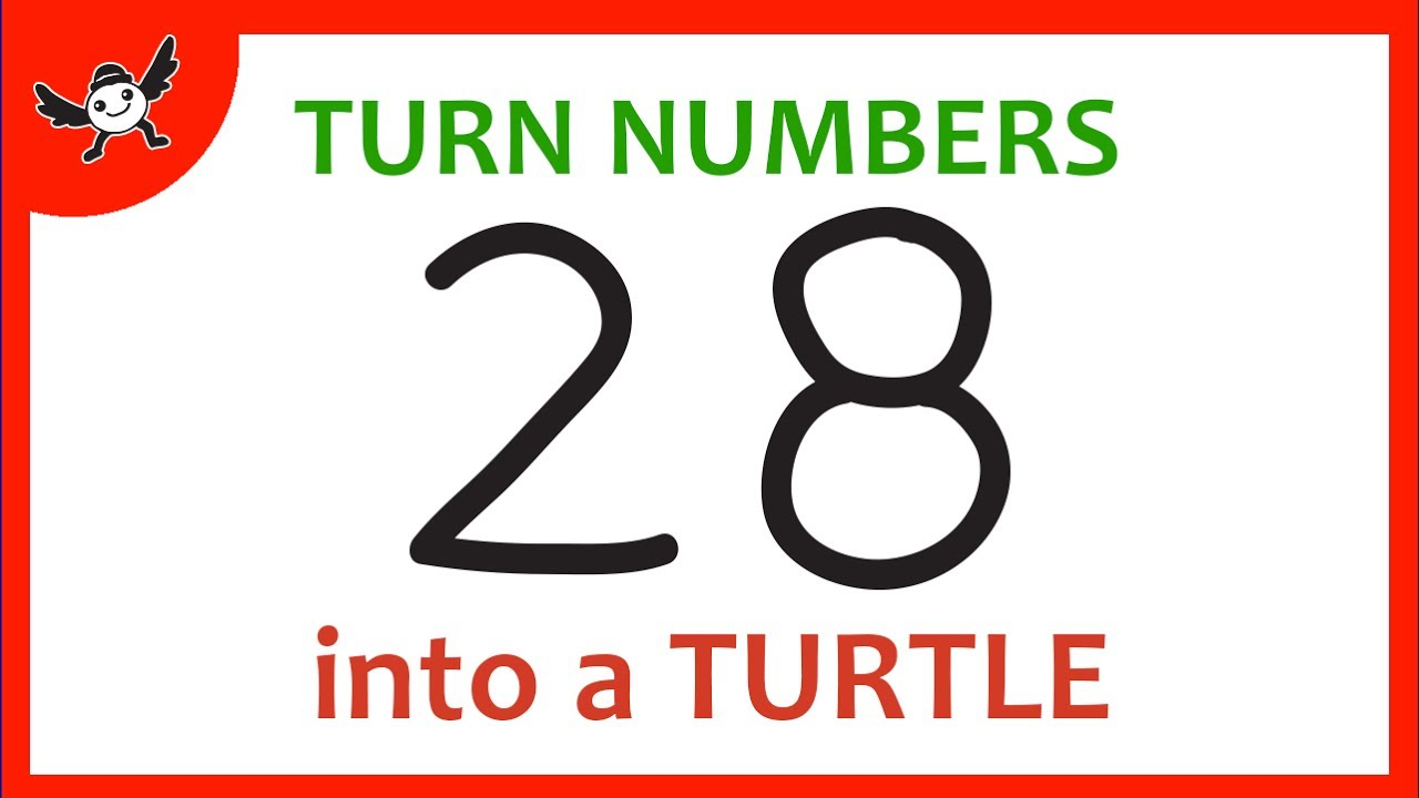 How to turn numbers 28 into cartoons turtle learn drawing art how to turn numbers 28 into cartoons turtle learn drawing art on paper for kids biocorpaavc