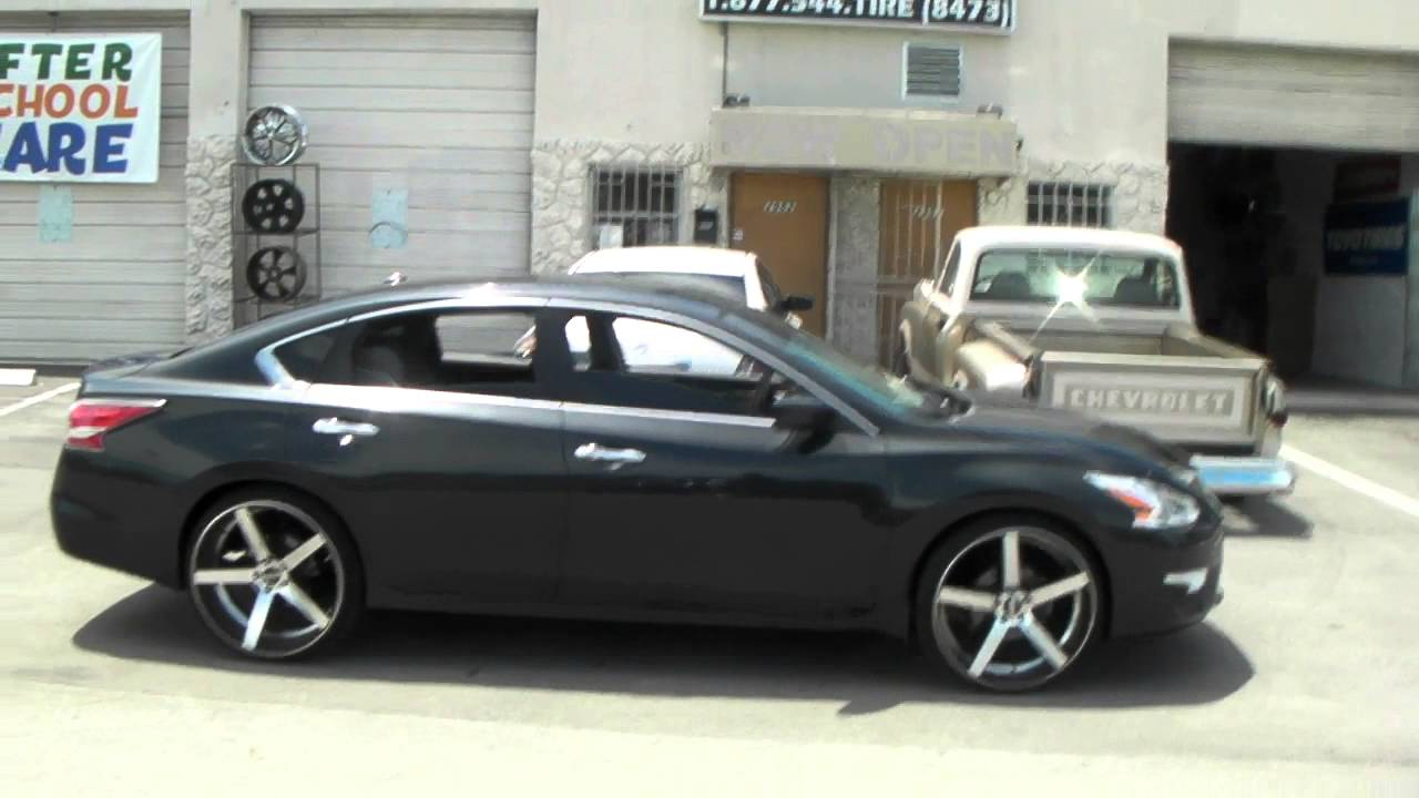 "22"" Inch STR 607 Machine Wheels 2013 Nissan Altima Staggered Rims Hallandale Miami Free Shipping - YouTube"
