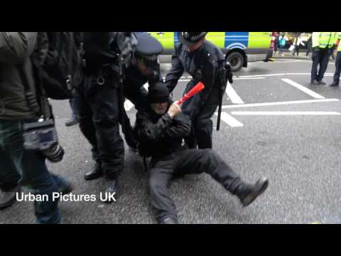 Protesters scuffle with Harrods staff and police in Central London