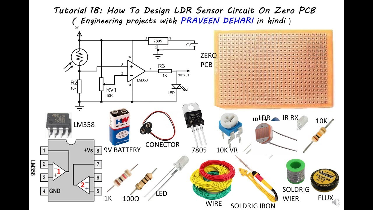How To Design LDR Sensor Circuit On Zero PCB : Tutorial 18 - YouTube
