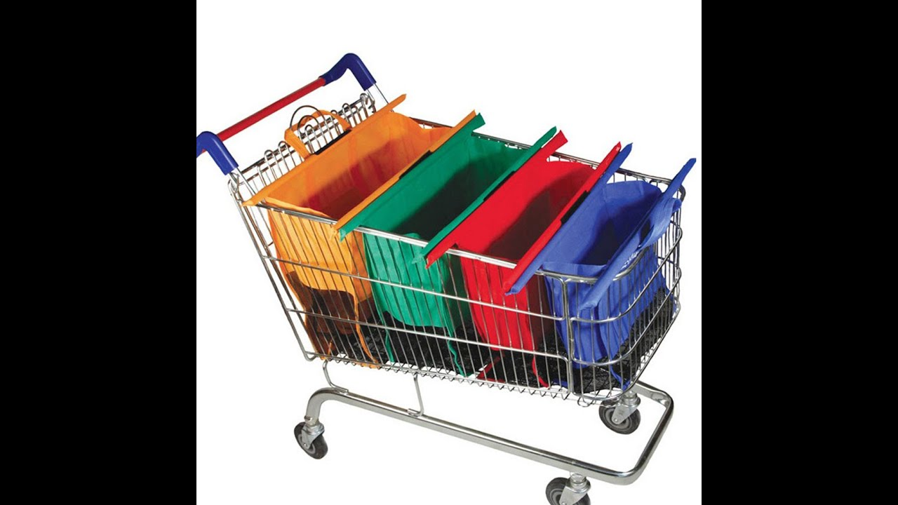 Eco-Friendly Grocery Cart Tote,4 Detachable Foldable Grocery Bags Sized for USA,Reusable Shopping Cart Bags,Grocery Organizer Designed for Trolley Carts
