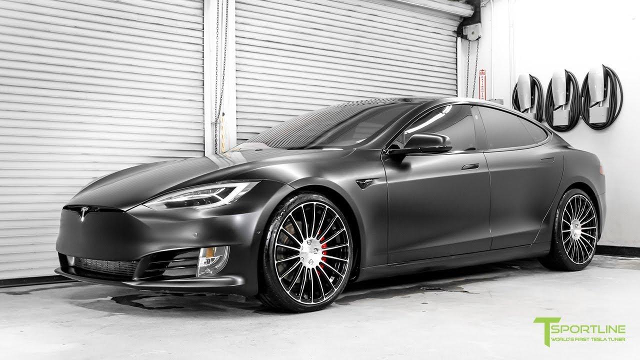 Enter Project McCann - Satin Black Tesla Model S P100D Reupholstered with a Bentley Linen Interior