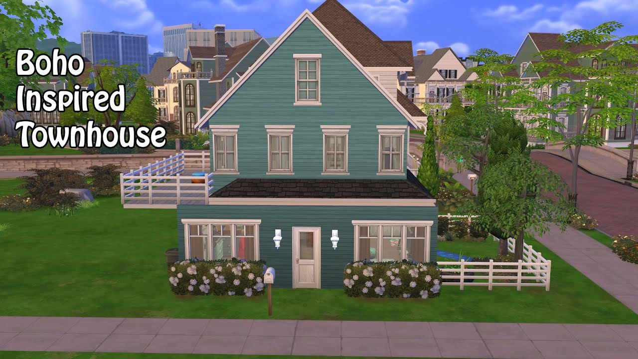 Boho Inspired Townhouse | The Sims 4 Speed Build - YouTube