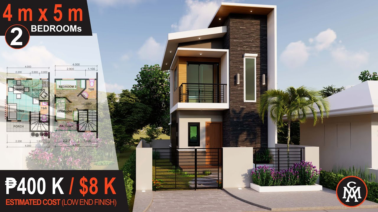 2 Storey House Design 4 X 5 M 40 Sq M House Design 6 Youtube