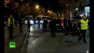 Los jugadores de River Plate y de Boca Juniors llegan al estadio Santiago Bernabéu