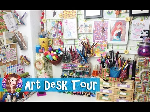 Art Workstation Tour 2017 - Art Supplies Collection and Storage - In Depth Art Desk Tour -Ma'at Silk
