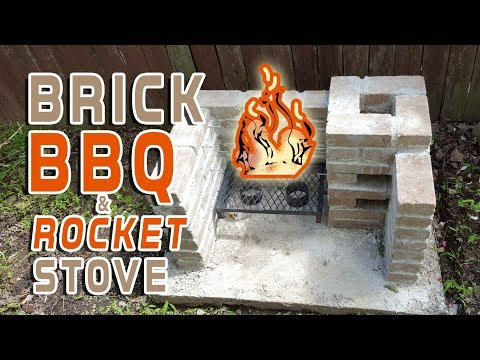 Brick BBQ Grill and Rocket Stove Build Timelapse