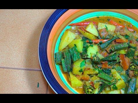Potato Okra Curry - Vegan Recipes - Indian Vegan Recipes - Potato Okra - Aloo Bhindi - Potato curry