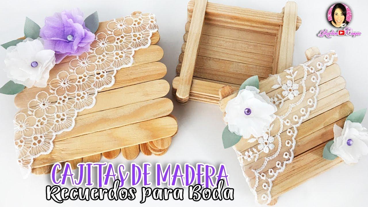 RECUERDOS PARA BODAS Cajitas hechas con PALITOS DE MADERA por DIY con  Marlene Campos - YouTube