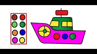 Baby Ship Drawing and Coloring pages -  Drawing For kids Step by Step