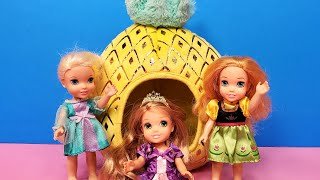 Sleepover ! Elsa & Anna Toddlers - Rapunzel's House - Barbie