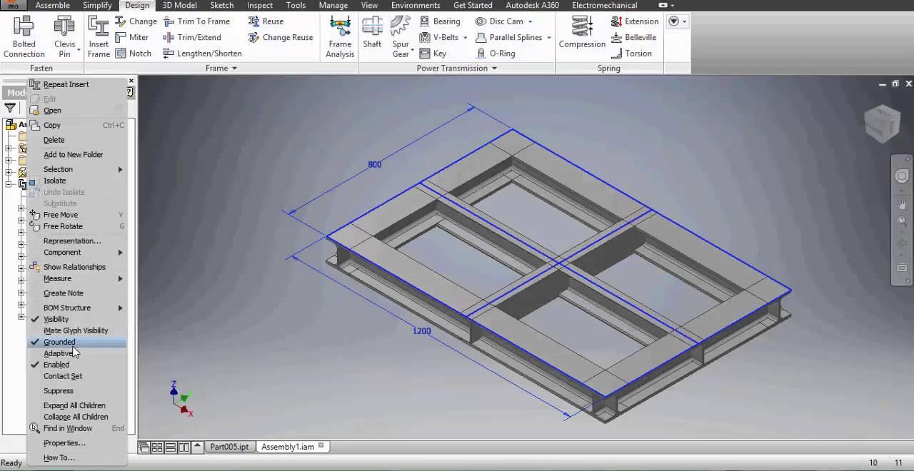 Autodesk Inventor 2016 Frame Generator