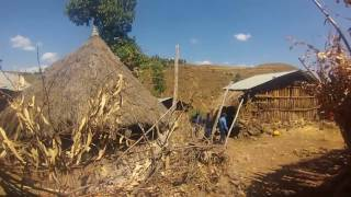 Walking through a remote village in Ethiopia