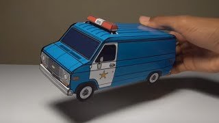 JCARWIL PAPERCRAFT 1977 Chevy G20 Police Van (Building Paper Model Car)