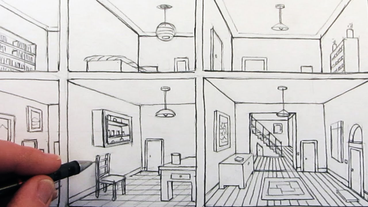 How to draw a room in one point perspective in a house - One point perspective drawing living room ...