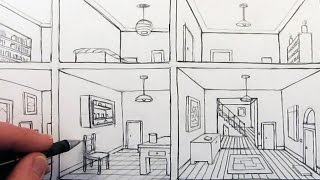 How to Draw a Room in One-Point Perspective in a House