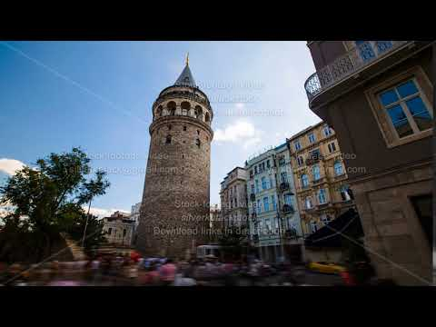Timelapse of famous tourist place Galata tower in Istanbul in Turkey