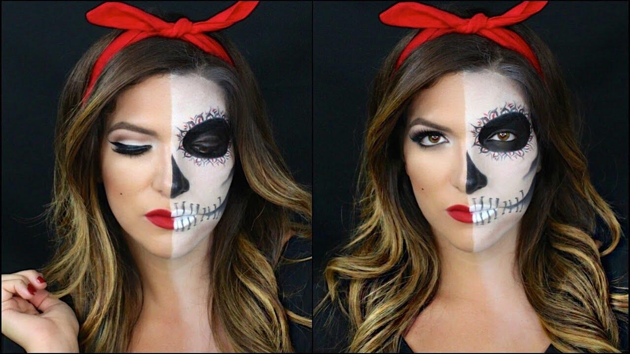 half skull half pin up halloween makeup tutorial - youtube