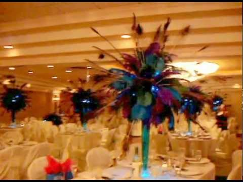 Peacock Themed Centerpiece Rentals by Sweet 16 Candelabras  YouTube