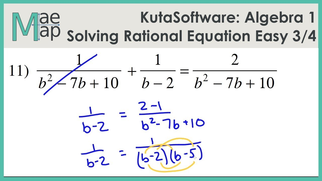 Kutasoftware Algebra 1 Solving Rational Equations Easy Part 3