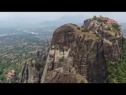 Beautiful places in the world : Greece metéoros / Meteory monastyry Aerial Video