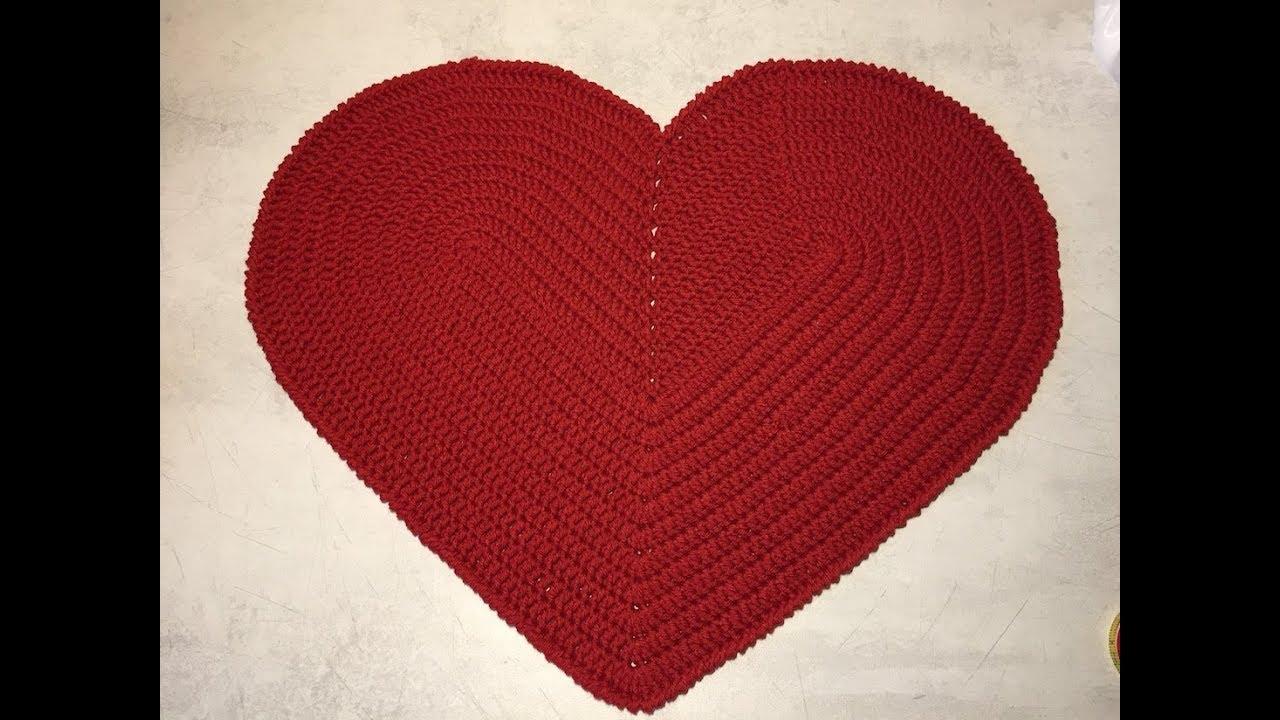 Tuto coeur tapis au crochet - YouTube