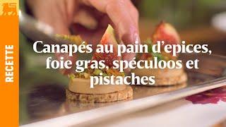 Canapés au pain d'epices, foie gras, spéculoos et pistaches