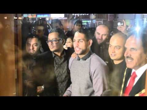 Amir Khan getting mobbed by fans at Restaurant opening in Slough