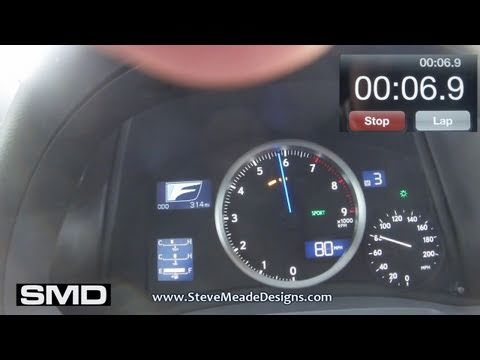 2011 LEXUS ISF 0-60/80 MPH Times - STOCK 1st try