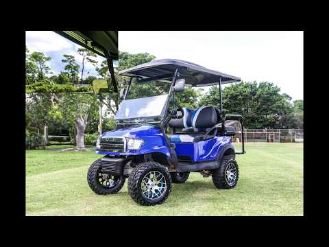 Custom Golf Carts   Alpha Body   Madjax Blue   Lifted   All Terrain Tires