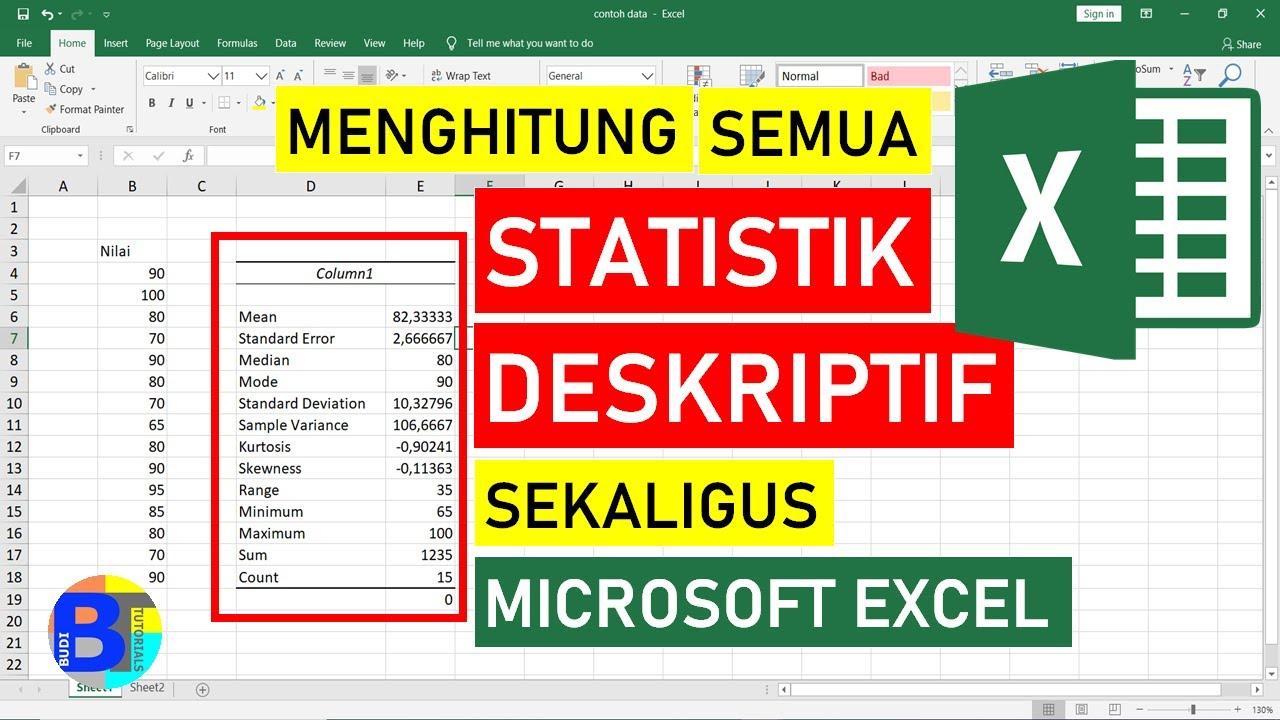 X < med < mod. Cara Menghitung Statistik Deskriptif Dengan Excel Statistik Excel Youtube