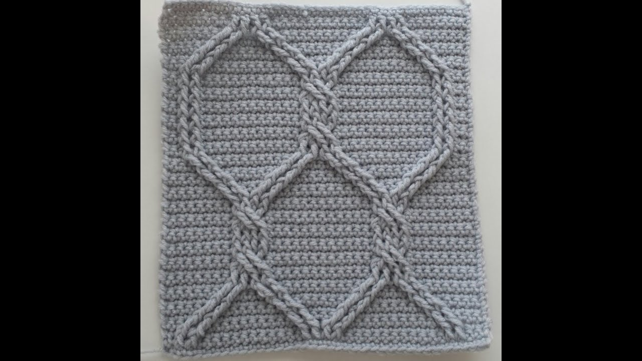 Crocheting Rows : Crochet Cables Square 2: Chain Link Cables; part 8, rows 15 - 26 ...