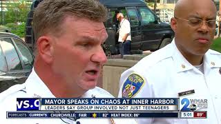 'Totally Unacceptable.' Baltimore Mayor Young reacts to group fighting near Inner Harbor