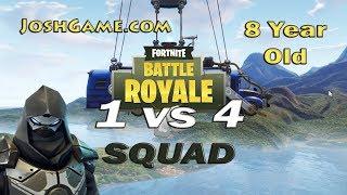 Fortnite 8 Year Old 1v4 Solo vs Squad (Battle Royale)
