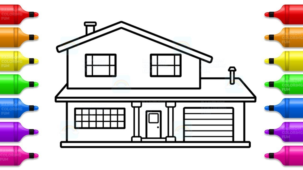 How to Draw House for Kids - Modern House Coloring Pages ...