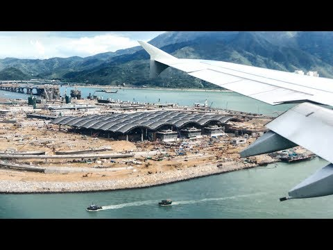 Crystal Clear Hong Kong Airport Approach and Landing. Airbus A380 Lufthansa