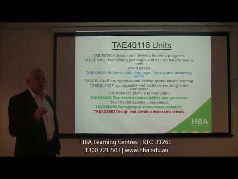 Overview: TAE40116 Certificate IV In Training And Assessment