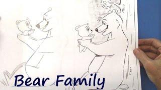 How to Draw a Cartoon Animal (dad bear & cub)