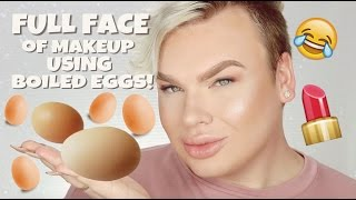 FULL FACE OF MAKEUP USING BOILED EGGS CHALLENGE!