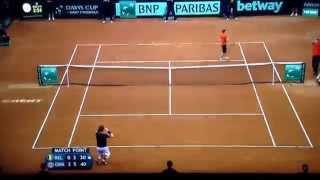 Davis Cup final GB v Belgium final rally winner by Andy Murray