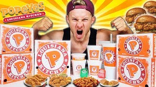 THE $100 POPEYES MENU CHALLENGE! (12,000+ CALORIES)